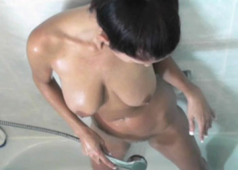 Lavender Rayne plays in the shower