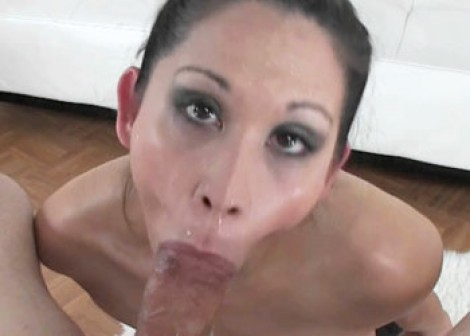 Hungry MILF Katt swallows a cock